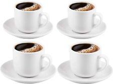Bruntmor Ceramic Espresso Cups & Saucers Set of 4 Serving Coffee Cups 4 Oz White
