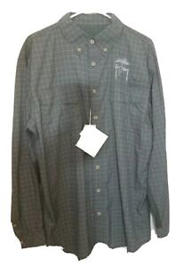 Guy Harvey Marlin Plaid Long Sleeve Technical Fishing Shirt Gray Sz L New