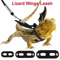 S,M,L Black /& Red Lewondr 3 Pack Bearded Dragon Lizard Leash Harness Adjustable Bat Wings with Hat /& Bowknot Soft Leather Reptile Leash 3 Different Size for Amphibians and Other Small Pet Animals
