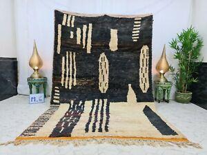 "Boujaad Moroccan Handmade Vintage Rug 6'x9'2"" Berber Abstract Black White Carpet"