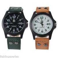 L/P Herren Uhr Armbanduhr Quarzuhr Analog Lederband Watch Geschenk M9305