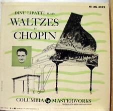 DINU LIPATTI plays waltzes by chopin LP VG ML 4522 Mono USA CBS 50s Blue Label