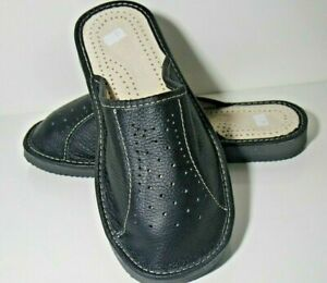MENS BLACK NATURAL LEATHER  SLIPPERS MULES SLIP ON SHOES ORTHOPEDIC SIZE 9 TO 13