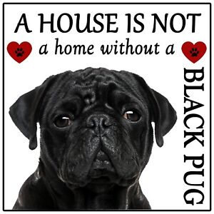 Pug Dog Black 'House is not a Home' Fun Flexible Magnet