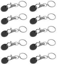 10x Metall Schlüsselanhänger mit Einkaufschip / Farbe: schwarz