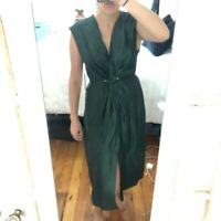 ZARA WOMAN NWT SALE! KNOTTED DRESS GREEN LINEN SIZE XS REF: 2418/794