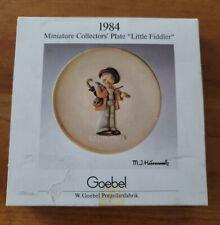 "1984 M.J. Hummel Miniature Collectors Plate Little Fiddler W/ Box Mini Goebel 4"""