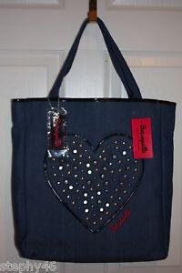 NEW! NWT! Betsey Johnson BETSEYVILLE Denim Stud Heart-y Girl Shopper Tote $98