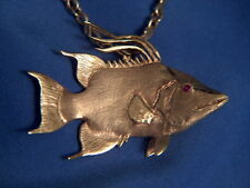 14Kt Yellow Gold Hog Fish Pendant With Ruby Eye