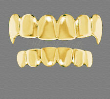 NEW 14K GOLD GP Dracula HipHop Vampire FANG Teeth Top & Bottom GRILLZ SET BLING!