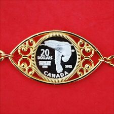 """1 Gram Canada Miniature $20 .999 Silver Coin 8"""" Gold Plated Linked Bracelet NOS"""