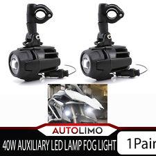 2X 40W Auxiliary LED Fog Spot Lamp Flood Beam Driving Motorcycle BMW Bike Light