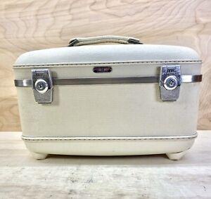 Vintage American Tourister Tri Taper Train Makeup Case White Hard Luggage 1960s