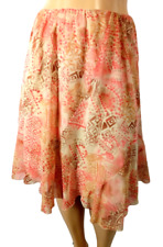 Fashion bug beige pink abstract print elastic waist pull on flare skirt 20W