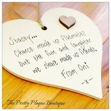 Personalised Special Friends Plaque Wooden Heart Chance Made Us Colleagues Gift