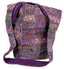 Recycled Sari Fabric Cross Body Bag Purple Embroidery Handmade India Fair Trade