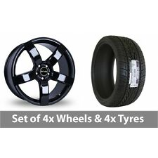 """4 x 20"""" Riva FWD Black Alloy Wheel Rims and Tyres -  295/40/20"""