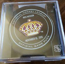 2015-16 SHERWOOD NICK NICKSON LOS ANGELES KINGS LEGENDS NIGHT GAME PUCK 11/10/15