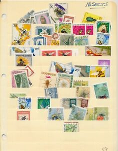 150+ INSECTS: Worldwide Topical Stamp Collection on 2 stock sheets. MINT + USED
