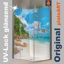 Eck Duschrückwand Rückwand Dusche Alu, Fliesenersatz, Motiv Karibik Bucht