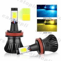 2x Dual Color H8 H11 LED Bulbs Car Fog Light DRL Driving Yellow Ice Blue 180W