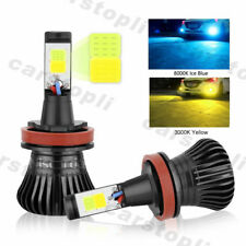 2x Dual Color H8 H11 LED Bulbs Car Fog Light DRL Driving Yellow Ice Blue 180W