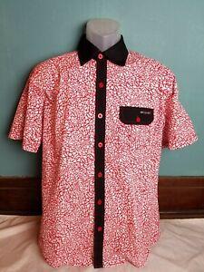 Enyce Red Plaid Short Sleeve Button Down Shirt Men's Size Medium M Sean Combs Co