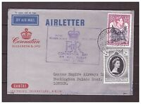 s16115) BR. SOLOMON ISL. 2 JUNE 1953 Air Letter QEII Coronation Honiara London