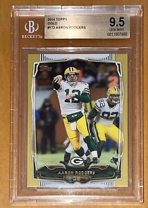 🔥POP 1 of Only 2! 💎Aaron Rodgers 2014 Topps GOLD #172 SP /2014 BGS 9.5 PSA MVP