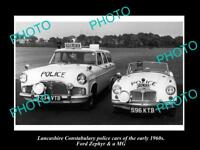 OLD LARGE HISTORIC PHOTO OF LANCASHIRE POLICE, FORD ZEPHYR & MG PATROL CAR c1960