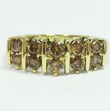 10K Yellow Gold CHAMPAGNE DIAMOND RING 2 Row Anniversary Band 1.00 ct tw Size 10