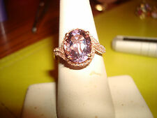 NWOT 10KT ROSE GOLD HALO STYLE OVAL AMETHYST RING W/ DIAMONDS 1,000.00 NOT SCRAP