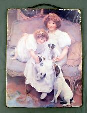 Vintage Fox Jack Russel Terrier Dog Kids Girls Couch Painting by Arthur J Elsley