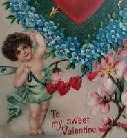 c.1909 Valentine Heart Postcard Embossed with Sweet Baby Made in Germany