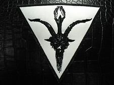BAPHOMET HEAD WHITE  EMBROIDERED PATCH