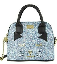 Luv Betsey Johnson Crossbody Denim cat face Top handle Satchel handbag purse