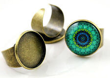 5pcs Antique Bronze Adjustable Ring Blank/Base | Fit 20mm Cabochons