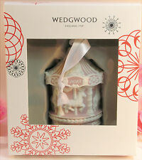 New Wedgwood Pink Jaspeware Baby 1St First Christmas Carousel Ornament 2015