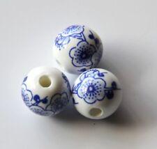 25pcs 12mm Round Porcelain/Ceramic Beads - White / Cobalt Blue Cherry Blossoms