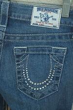 NWT TRUE RELIGION SKINNY Size 24 Crystal Horseshoe Bling Denim Jeans USA