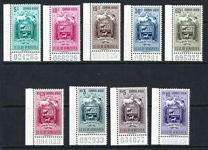 B&D: 1952 Venezuela Scott C509-C517 Apure, Horse & Bird LL corner numbered MNH