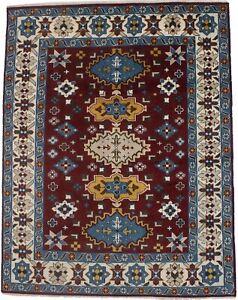 Handmade Tribal Geometric Design 6X9 Wine Red Kazak Oriental Rug Decor Carpet