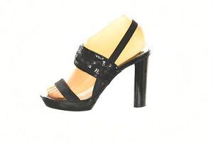 Michael Michael Kors Womens Shoes Size 7 Black Sequin Slingback Heels Sandals