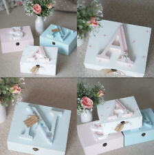 Personalised  Baby Keepsake Memory Box Floral Polka Dot Wooden Any Colour