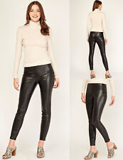 New Look Womens High Waisted Faux Leather Skinny Slim Trousers Black Sizes 6-18