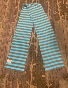"Girls M 8/10 60"" X 6"" Blue & Brown Striped Scarf Super Soft"