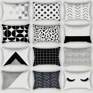 Black White Geometric Cushion Cover Pillow Case Home Sofa Waist Throw Rectangle
