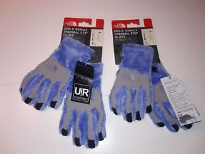 New  THE NORTH FACE Girl's Denali Thermal Etip Blue Glove size S or M