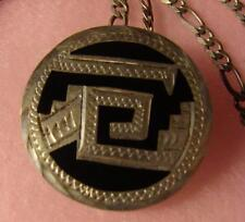Vint Sterling Silver Aztec Design Pin/Pendant On Figaro Chain MZ-11 GZH MEXICO