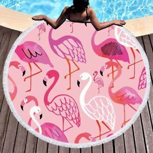Large Round Beach Towels Mats Tropical Floral Flamingo Bath Pool Towels Picnic M